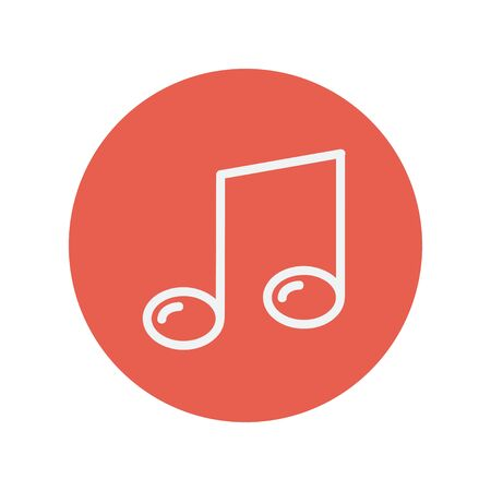 melodious: Music note thin line icon for web and mobile minimalistic flat design. Vector white icon inside the red circle