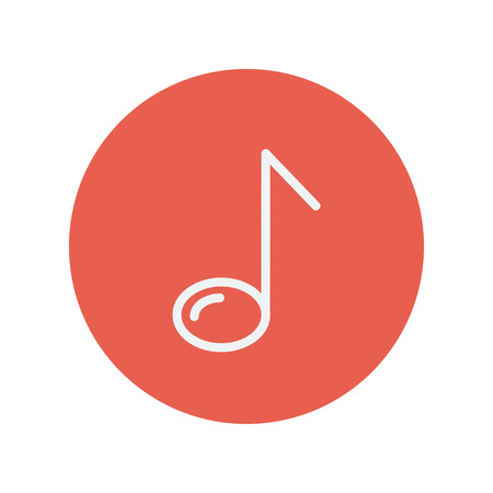 eight note: Eight note thin line icon for web and mobile minimalistic flat design. Vector white icon inside the red circle Illustration
