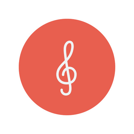gclef: G-clef thin line icon for web and mobile minimalistic flat design. Vector white icon inside the red circle Illustration