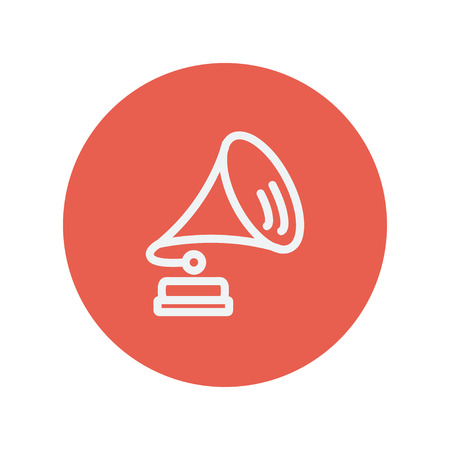 brake fern: Gramophone thin line icon for web and mobile minimalistic flat design. Vector white icon inside the red circle
