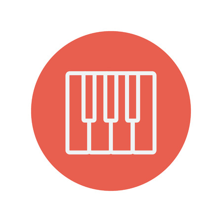 intertainment: Piano keys thin line icon for web and mobile minimalistic flat design. Vector white icon inside the red circle Illustration