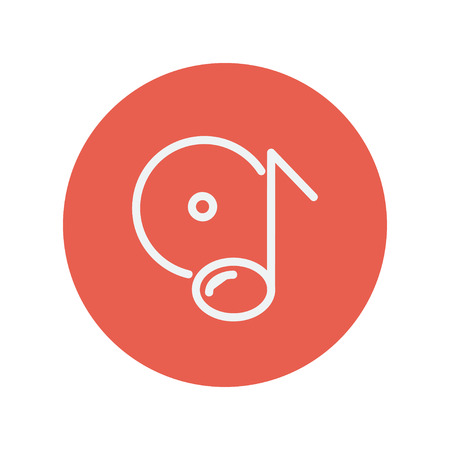 phonograph: Note with phonograph record thin line icon for web and mobile minimalistic flat design. Vector white icon inside the red circle Illustration
