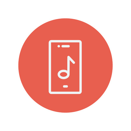 Phone with musical note thin line icon for web and mobile minimalistic flat design. Vector white icon inside the red circle