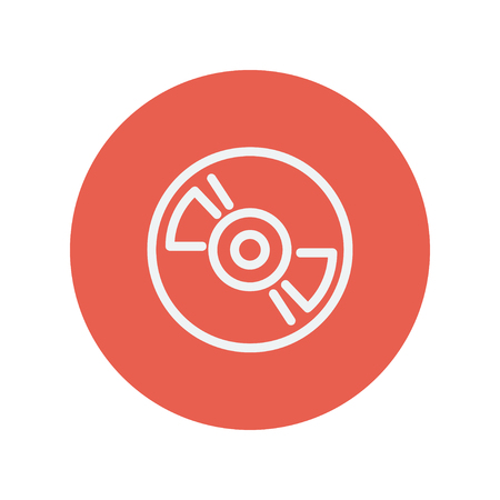 Reel player deck recorder thin line icon for web and mobile minimalistic flat design. Vector white icon inside the red circle
