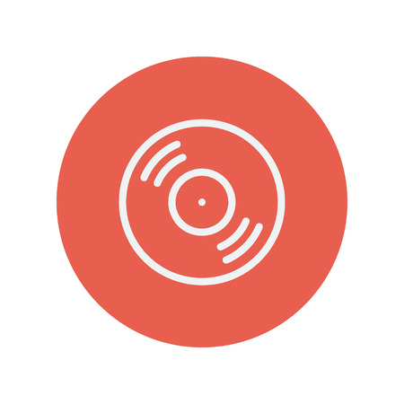 Vinyl disc thin line icon for web and mobile minimalistic flat design. Vector white icon inside the red circle