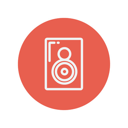 sub woofer: Two way audio speaker thin line icon for web and mobile minimalistic flat design. Vector white icon inside the red circle Illustration