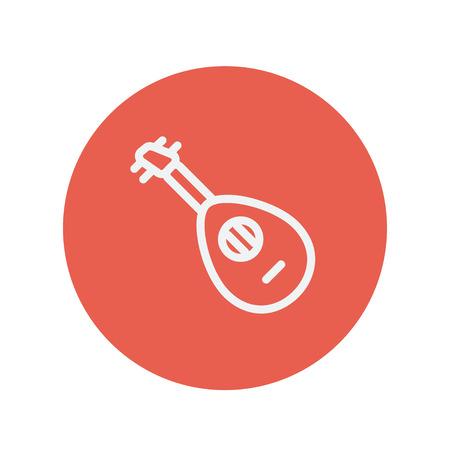 mandolin: Mandolin guitar thin line icon for web and mobile minimalistic flat design. Vector white icon inside the red circle Illustration