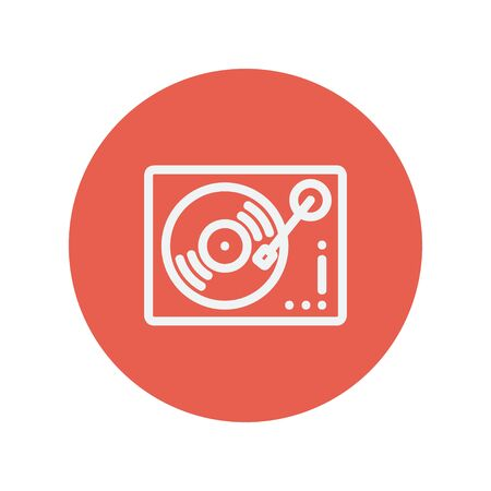 phonograph: Phonograph turntable thin line icon for web and mobile minimalistic flat design. Vector white icon inside the red circle