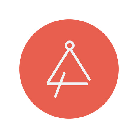 Triangle thin line icon for web and mobile minimalistic flat design. Vector white icon inside the red circle