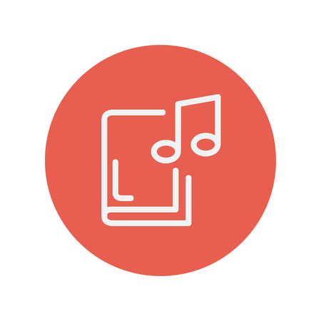 music book: Music book thin line icon for web and mobile minimalistic flat design. Vector white icon inside the red circle Illustration