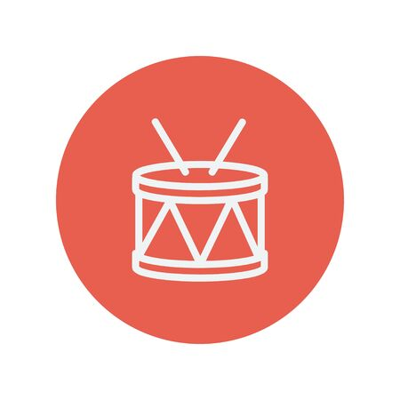 Drum with stick thin line icon for web and mobile minimalistic flat design. Vector white icon inside the red circle Illustration
