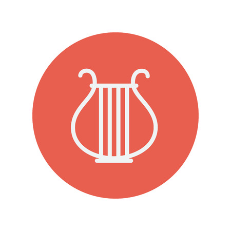 Lyre thin line icon for web and mobile minimalistic flat design. Vector white icon inside the red circle