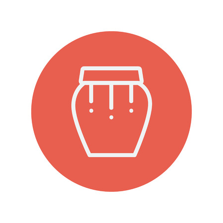 darbuka: Percussion instrument thin line icon for web and mobile minimalistic flat design. Vector white icon inside the red circle