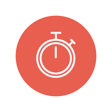 stop watch: Stop watch thin line icon for web and mobile minimalistic flat design. Vector white icon inside the red circle