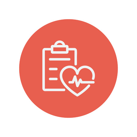 Heartbeat record thin line icon for web and mobile minimalistic flat design. Vector white icon inside the red circle Ilustração