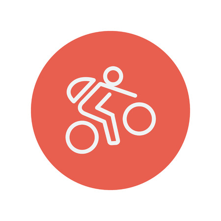 Mountain bike rider thin line icon for web and mobile minimalistic flat design. Vector white icon inside the red circle