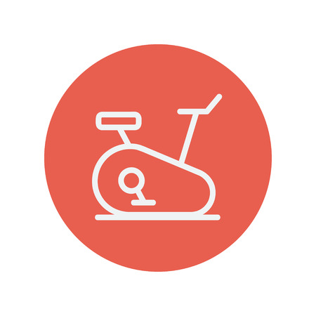 crosstrainer: Fitness cycling thin line icon for web and mobile minimalistic flat design. Vector white icon inside the red circle