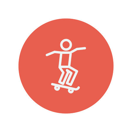 Man skateboarding thin line icon for web and mobile minimalistic flat design. Vector white icon inside the red circle