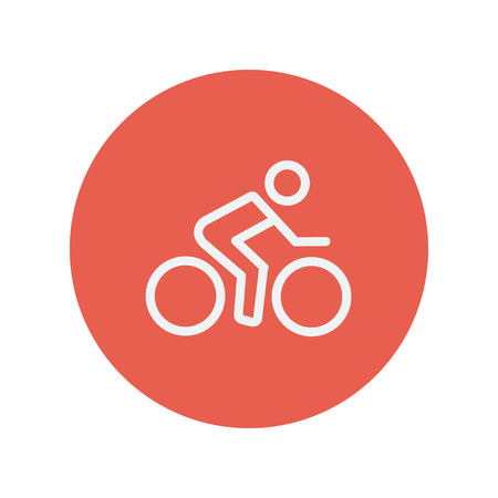 lenticular: Sport bike and rider thin line icon for web and mobile minimalistic flat design. Vector white icon inside the red circle