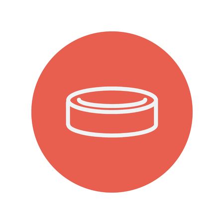 Hockey puck thin line icon for web and mobile minimalistic flat design. Vector white icon inside the red circle