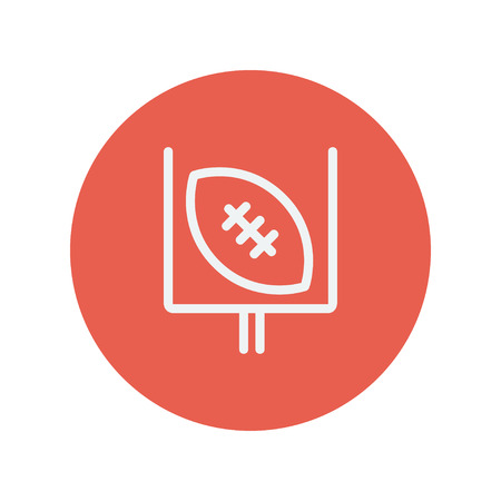 patch of light: Football poster thin line icon for web and mobile minimalistic flat design. Vector white icon inside the red circle Illustration