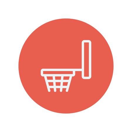 Basketbalring dunne lijn pictogram voor web en mobiele minimalistische platte design. Vector wit icoon binnen de rode cirkel Stock Illustratie