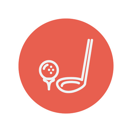 Golf ball and putter thin line icon for web and mobile minimalistic flat design. Vector white icon inside the red circle