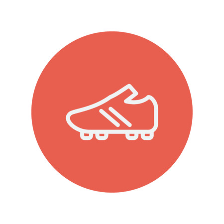 soccer shoes: Soccer shoes thin line icon for web and mobile minimalistic flat design. Vector white icon inside the red circle