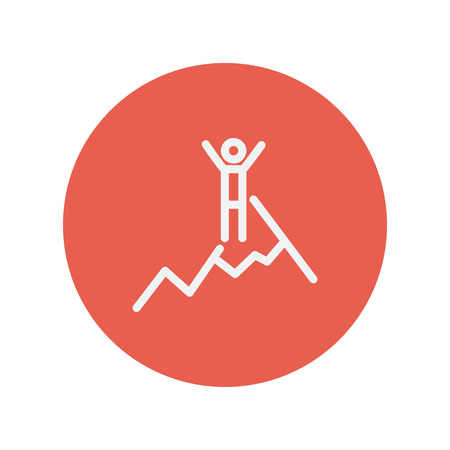 Skiing in ice mountain thin line icon for web and mobile minimalistic flat design. Vector white icon inside the red circle 向量圖像