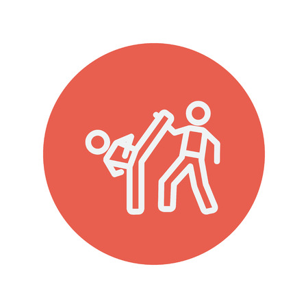 Karate fighters thin line icon for web and mobile minimalistic flat design. Vector white icon inside the red circle. 矢量图像