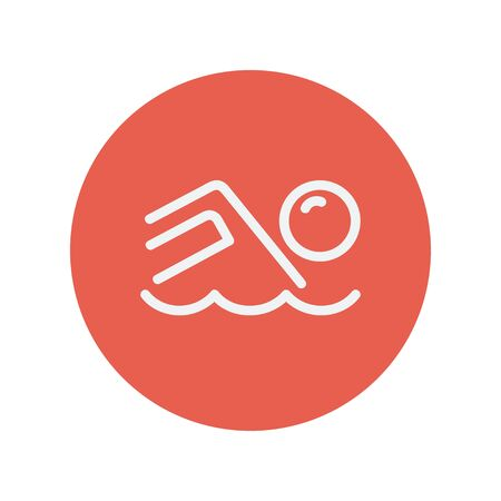 Beach wave thin line icon for web and mobile minimalistic flat design. Vector white icon inside the red circle.