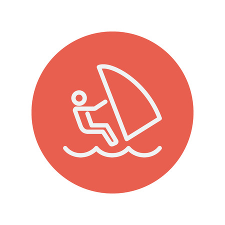 wind surfing: Wind surfing thin line icon for web and mobile minimalistic flat design. Vector white icon inside the red circle.