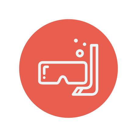 snorkelling: Mask and snorkel thin line icon for web and mobile minimalistic flat design. Vector white icon inside the red circle.