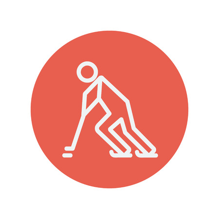 ice surface: Hockey player pushing the puck thin line icon for web and mobile minimalistic flat design. Vector white icon inside the red circle.