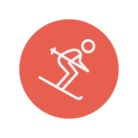 downhill skiing: Downhill skiing thin line icon for web and mobile minimalistic flat design. Vector white icon inside the red circle.