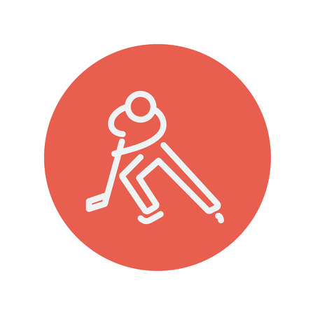 skating on thin ice: Moving hockey player thin line icon for web and mobile minimalistic flat design. Vector white icon inside the red circle.