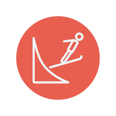 ski jump: Skier jump in the air thin line icon for web and mobile minimalistic flat design. Vector white icon inside the red circle. Illustration