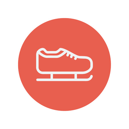 skating on thin ice: Ice skate thin line icon for web and mobile minimalistic flat design. Vector white icon inside the red circle.