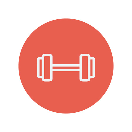 dumbell: Dumbell icona linea sottile per il web e mobile design piatto minimalista. Vector icona bianca all'interno del cerchio rosso.