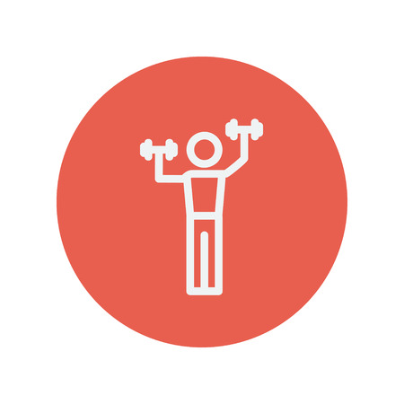 weight training: Boy in weight training thin line icon for web and mobile minimalistic flat design. Vector white icon inside the red circle.