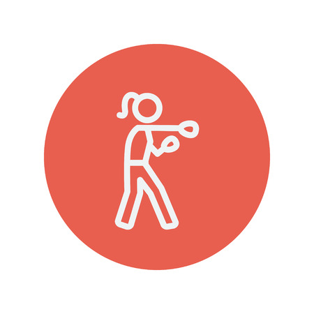 physically: Female boxer thin line icon for web and mobile minimalistic flat design. Vector white icon inside the red circle.