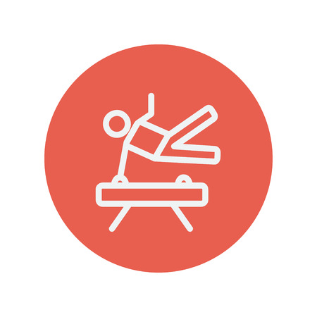 Gymnast on pommel horse thin line icon for web and mobile minimalistic flat design. Vector white icon inside the red circle. 向量圖像