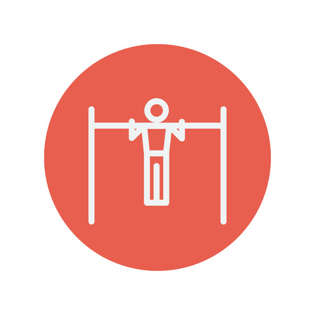 muscularity: Pull up exercise in a bar thin line icon for web and mobile minimalistic flat design. Vector white icon inside the red circle.