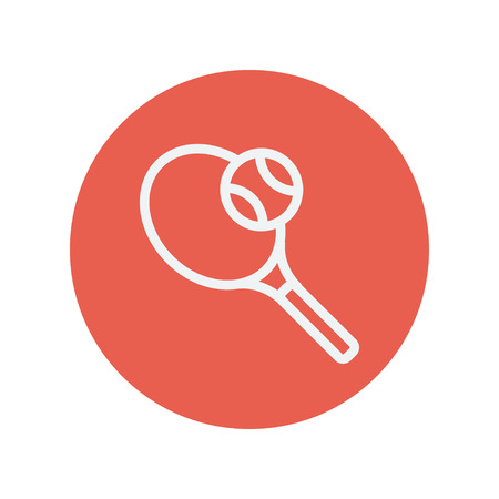 wimbledon: Tennis racket with ball thin line icon for web and mobile minimalistic flat design. Vector white icon inside the red circle.