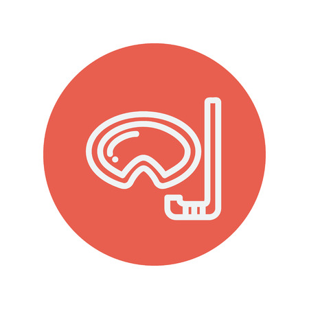 snorkelling: Mask and snorkel for snorkelling thin line icon for web and mobile minimalistic flat design. Vector white icon inside the red circle.