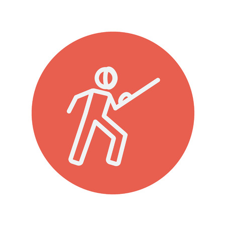 sward: Fencing sport thin line icon for web and mobile minimalistic flat design. Vector white icon inside the red circle.
