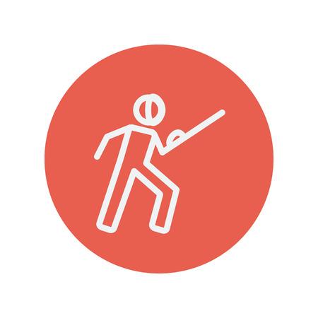 sward: Scherma sportiva icona linea sottile per il web e mobile design piatto minimalista. Vector bianco icona all'interno del cerchio rosso. Vettoriali
