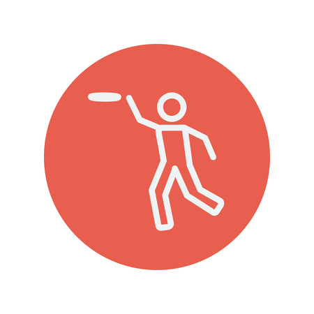 guts: Man catching a flying disc thin line icon for web and mobile minimalistic flat design. Vector white icon inside the red circle. Illustration