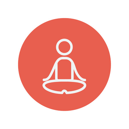 breathing exercise: Yoga exercise thin line icon for web and mobile minimalistic flat design. Vector white icon inside the red circle.