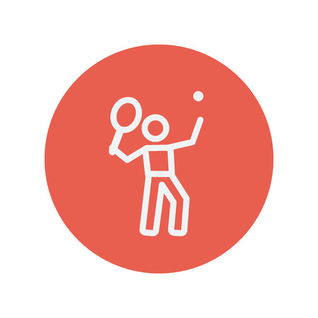 toss: Tennis player in serving position thin line icon for web and mobile minimalistic flat design. Vector white icon inside the red circle. Illustration